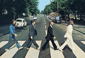 The famous Beatles walk across the streer