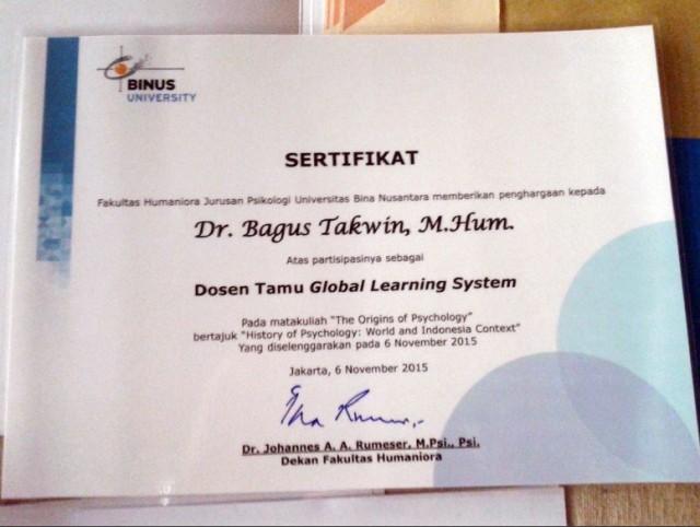 Sertifikat Penghargaan Untuk Dr. Bagus Takwin