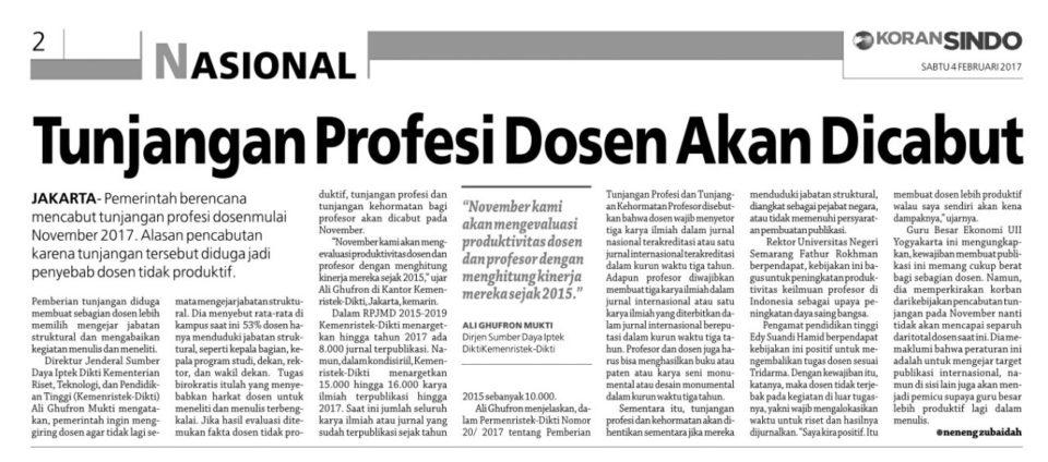 Tunjangan Profesi Dosen Akan Dicabut?